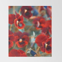 Red violas Throw Blanket