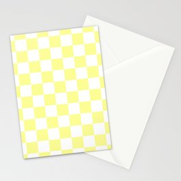 Checkered - White and Pastel Yellow Stationery Cards