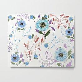 hand draw blue floral pattern Metal Print