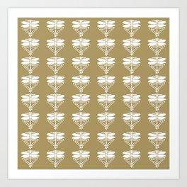 Teak Arts and Crafts Dragonflies Art Print