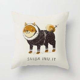 shiba inu-it Throw Pillow