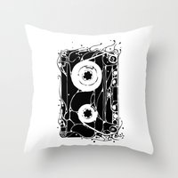 cassette Throw Pillows featuring cassette by barmalisiRTB