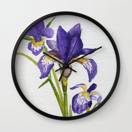 Watercolour Blue flag iris Wall Clock