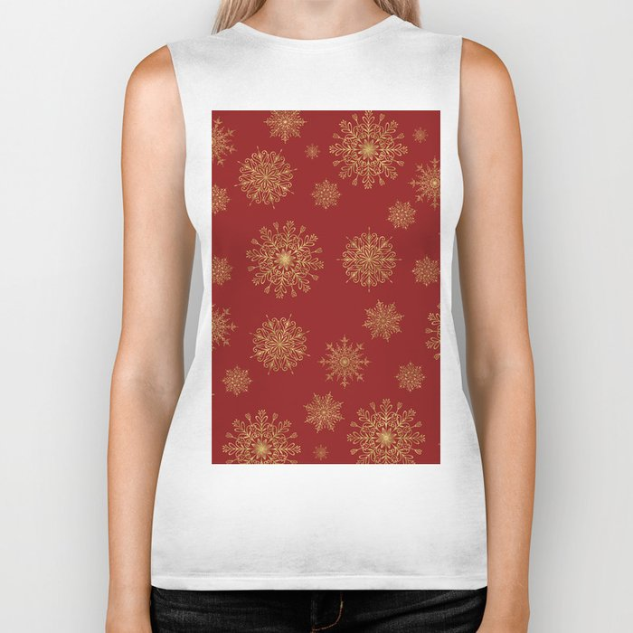 Assorted Golden Snowflakes Biker Tank