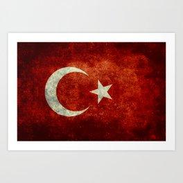 Flag of Turkey, Vintage distressed patina Art Print