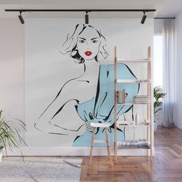 Fashion Girl in Draped Dress Wall Mural