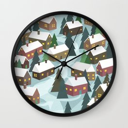 Little Houses on a Hill Wall Clock