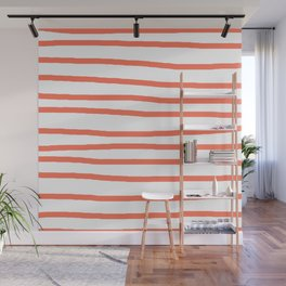 Simply Drawn Stripes in Deep Coral Wall Mural