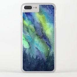Galaxy Aurora Northern Lights Nebula Space Watercolor Clear iPhone Case