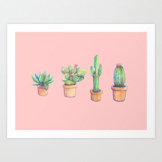 pink four cactus Art Print