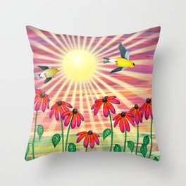 goldfinches sunshine flight Throw Pillow