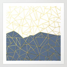 Ab Half and Half Navy Gold Art Print