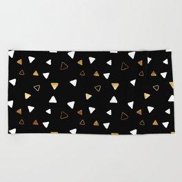 Multi Triangles - Black Beach Towel