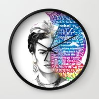 frida kahlo Wall Clocks featuring Frida Kahlo -  by Le Vent
