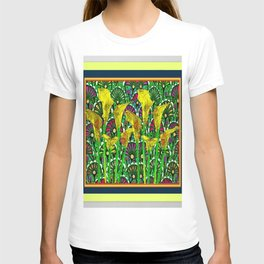 GREEN ART DECO YELLOW CALLA LILIES ART T-shirt