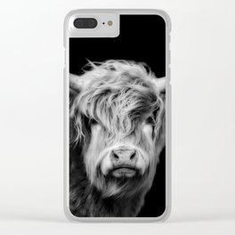 Highland Cow Black And White Clear iPhone Case
