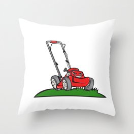 Lawnmower Front Isolated Cartoon Throw Pillow