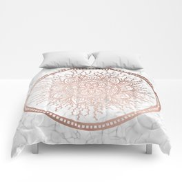 Rose Gold Nature Mandala on Marble Comforters