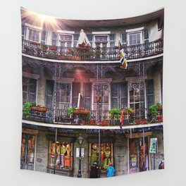 Sunny New Orleans French Quarter Nola Home with Iconic Blue Gray Architecture and Botanical Greenery Wall Tapestry