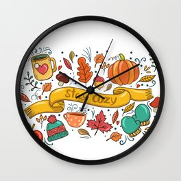 Stay Cozy in Autumn Wall Clock