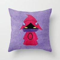 conan Throw Pillows featuring A Boy - Orko by Christophe Chiozzi