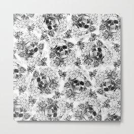 Floral Skull Pattern Metal Print
