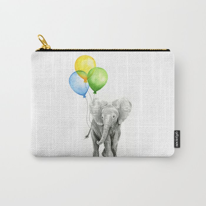 Elephant Watercolor Baby Animal with Balloons - Blue Yellow Green Carry-All Pouch