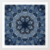 Geometric Blue Mandala Art Print