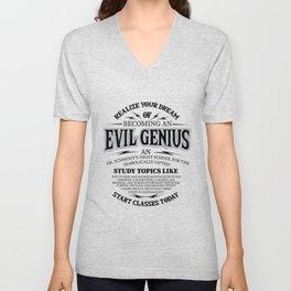 Evil genius supervillain world domination Gifts Unisex V-Neck
