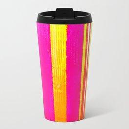 pink red yellow white stripes Travel Mug
