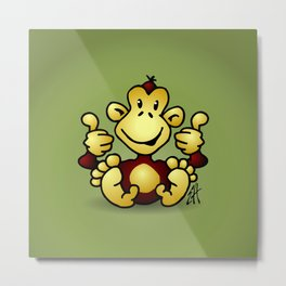 Manic Monkey with 4 thumbs up Metal Print