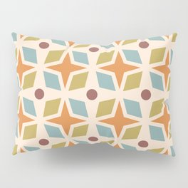 Mid Century Modern Abstract Star Dot Pattern 441 Orange Brown Blue Olive Green Pillow Sham