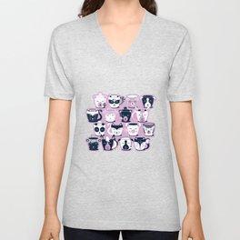 Cuddly Tea Time // white navy & light orchid pink animal mugs Unisex V-Neck
