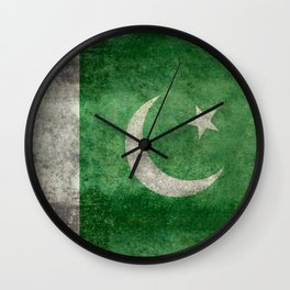 Flag of Pakistan, grungy retro style Wall Clock