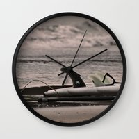 surfboard Wall Clocks featuring Surfboard 1 by Becky Dix