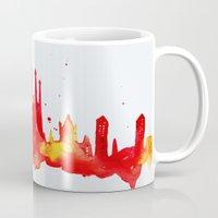 barcelona Mugs featuring Barcelona by Talula Christian