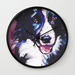 Fun BORDER COLLIE Dog bright colorful Pop Art painting by Lea Wall Clock