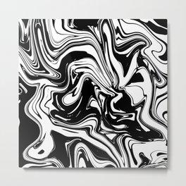 Liquid Marble B&W 028 Metal Print
