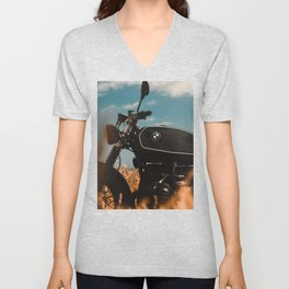 Vintage motorcycle photo, old motorbike, deep of field, bokeh effect, hasselblad Unisex V-Neck