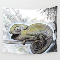 chameleon Wall Tapestries featuring Chameleon by Pfirsichfuchs
