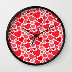 Red Hearts Pattern 2 Wall Clock