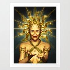Beautiful golden sun goddess Art Print