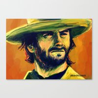 clint eastwood Canvas Prints featuring Clint Eastwood by GrungeCookie