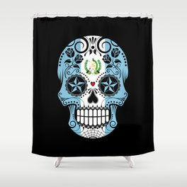 Sugar Skull with Roses and Flag of Guatemala Shower Curtain
