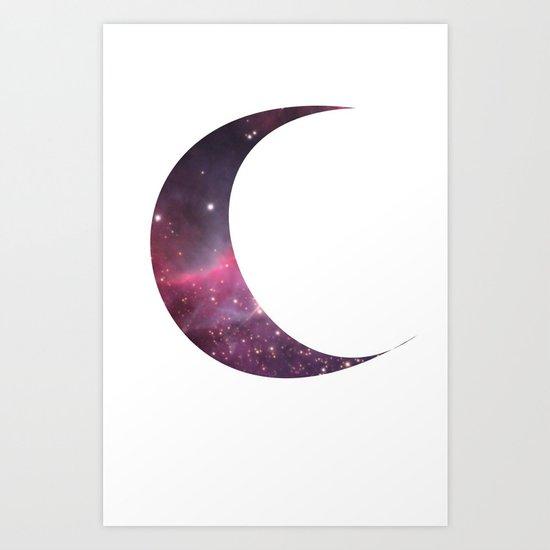cosmic crescent moon Art Print