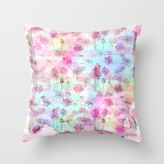 Summer pattern - Floral Flowers in pink on #Society6 Throw Pillow