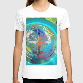 Disc Golf Boss Frisbee Blue Crystal Rainbow First Run Proto T-shirt