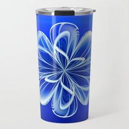 White Bloom on Blue Travel Mug