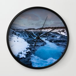 The blue waterfall of Iceland Wall Clock