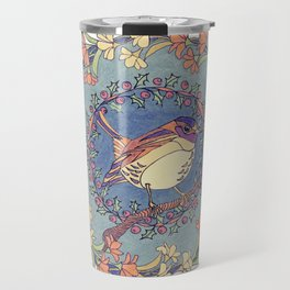 Small Bird With Wildflowers And Holly Wreath Travel Mug